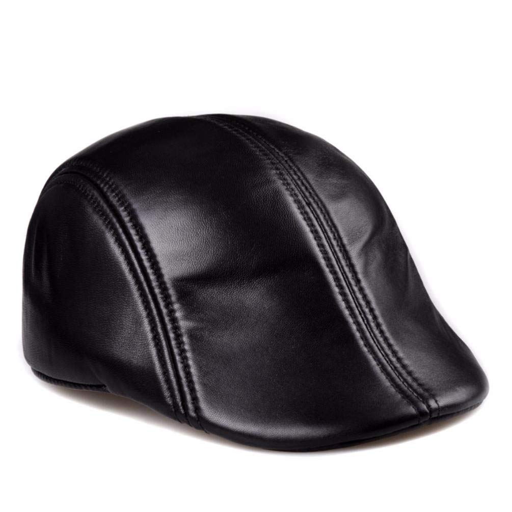 XIAOGEGE-Mens Spring and Autumn Hat Leather Cap Beret Cap