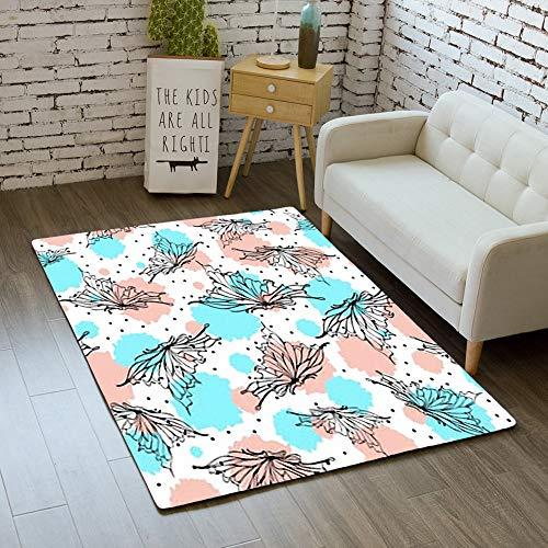 Door Mat Indoor Rugs Bathroom WC Bedroom Floor Mats Home Decor Rug,Beautiful Butterfly Seamless Pattern Textile,Living Room Carpets ()