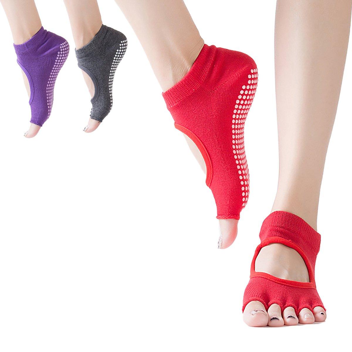 YF 3 Pairs Women Toeless Non Slip Yoga Grip Socks for Pilates, Ballet Barre 0AF0SA2C1O