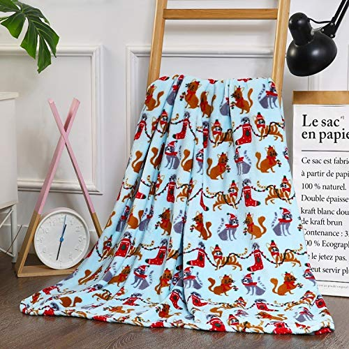 Elegant Comfort Velvet Touch Ultra Plush Christmas Holiday Printed Fleece Throw/Blanket-50 x 60inch, 50 x 60 inch, Cat ()
