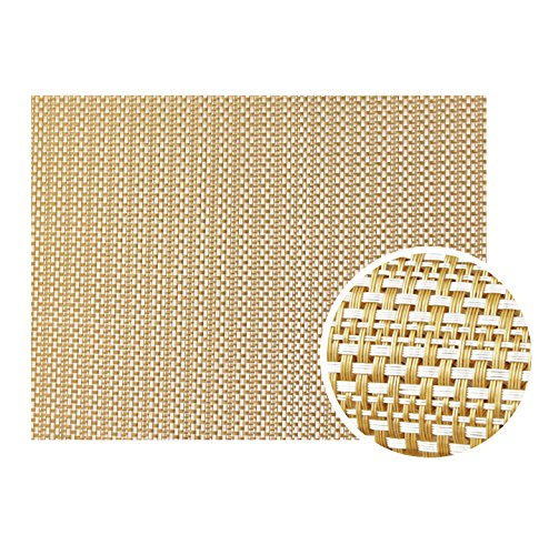 (New Star Foodservice 28171 Crossweave Woven Vinyl Placemat, Set of 4, Golden Candlelight)
