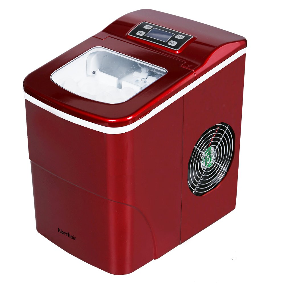 Northair HZB-12B Portable Compact Electric Ice Maker Machine Counter Top with LCD Display (Red)