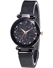 Luxury Starry Sky Women Watches Band Watches Rhinestones Quartz Female Business Wristwatch - Black