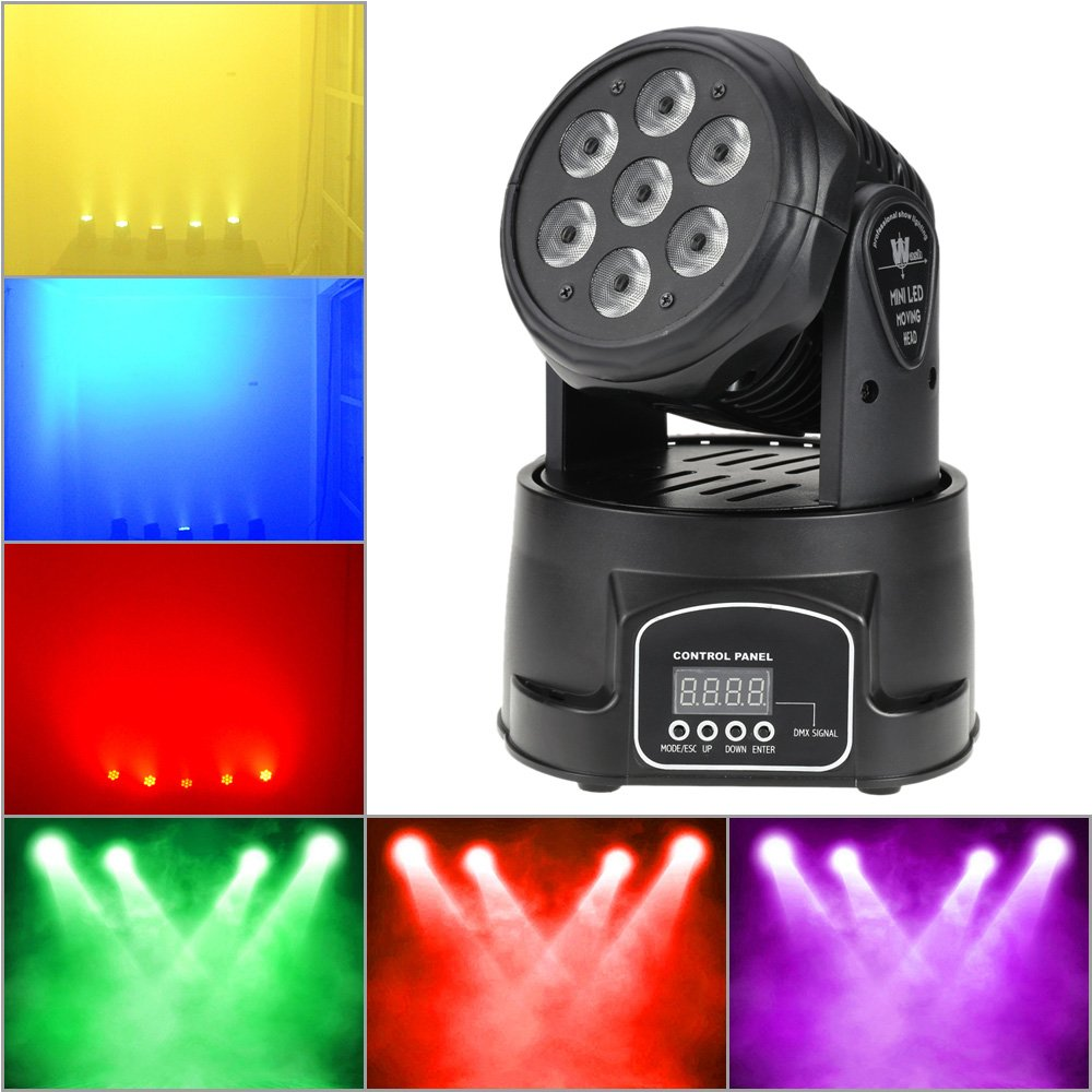 Docooler RGBW 4 in 1 LED stadiums effect 1 70W DMX512 9//14 channel for DJ club wash lighting movable main light 7 LEDs disco stadium party lighting