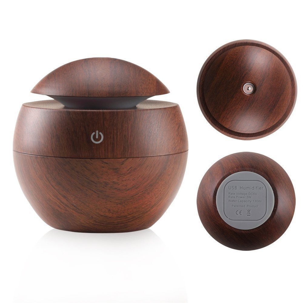Kmise USB Cool Mist Humidifier Ultrasonic Aroma Essential Oil Diffuser 130ml Light Wood Grain For Office Home Bedroom Living Room Study Yoga Spa (Dark Wood Grain, 130 ml)