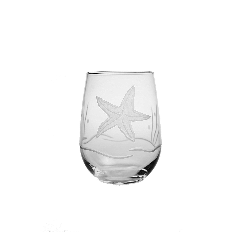 Nautical Tropical Imports Starfish Stemless Wine Glasses 17 oz set of 4