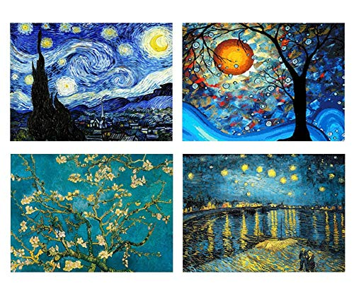 4 Packs 5D DIY Diamond Painting Set Full Drill Diamond Painting Starry Night Wall Stickers for Living Room(25X35CM/10X13.7inch)