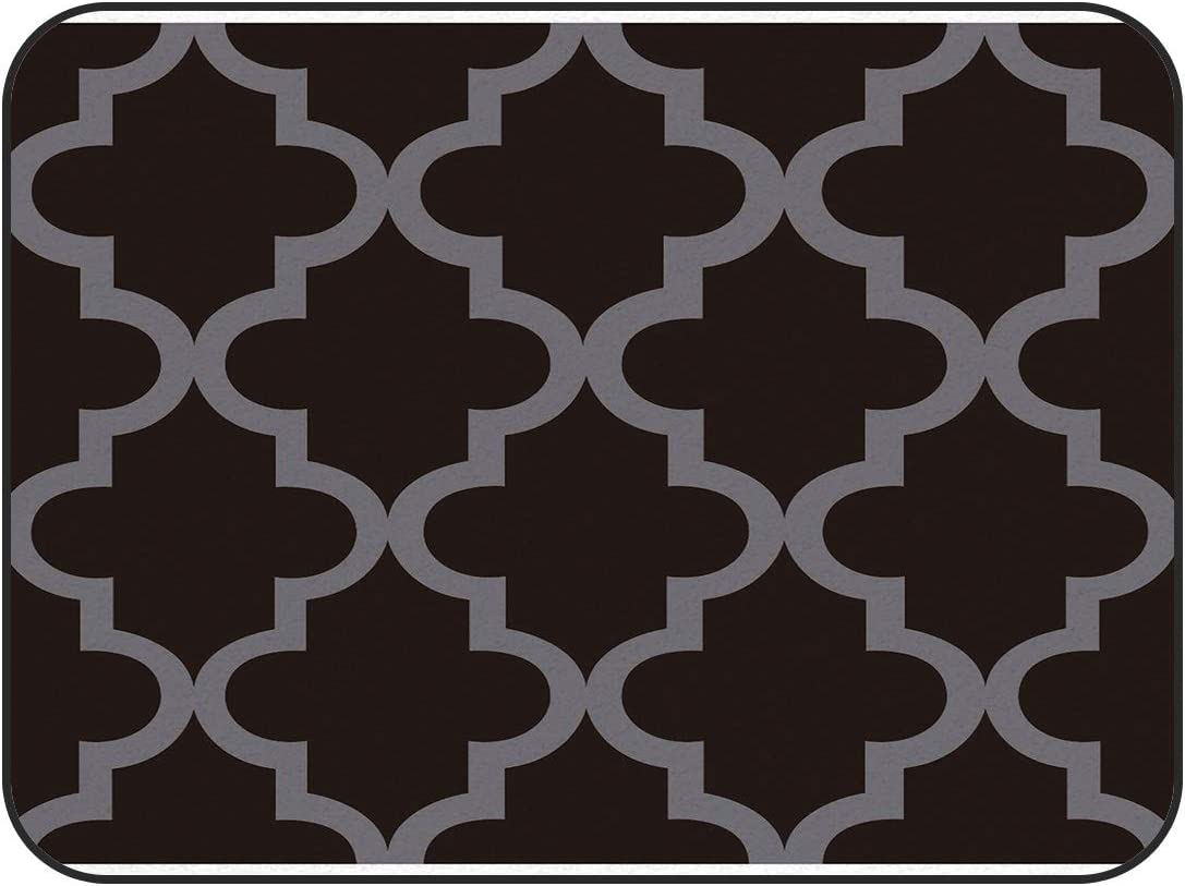Area Rugs Moroccan Trellis Pattern(Gray Brown) Carpets Indoors/Bedroom/Living Room/Dining Room/Kitchen Floor Mats Anti-Skid Rubber Backing,Rectangular,3' x 5'