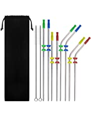 Set of 8 Stainless Steel Drinking Straws, SENHAI 6 mm Metal Bent and Straight Straws for 20 30 Oz RTIC Tumbler Yeti or Ozark Trail Ramblers Cups, with 2 Cleaning Brushes