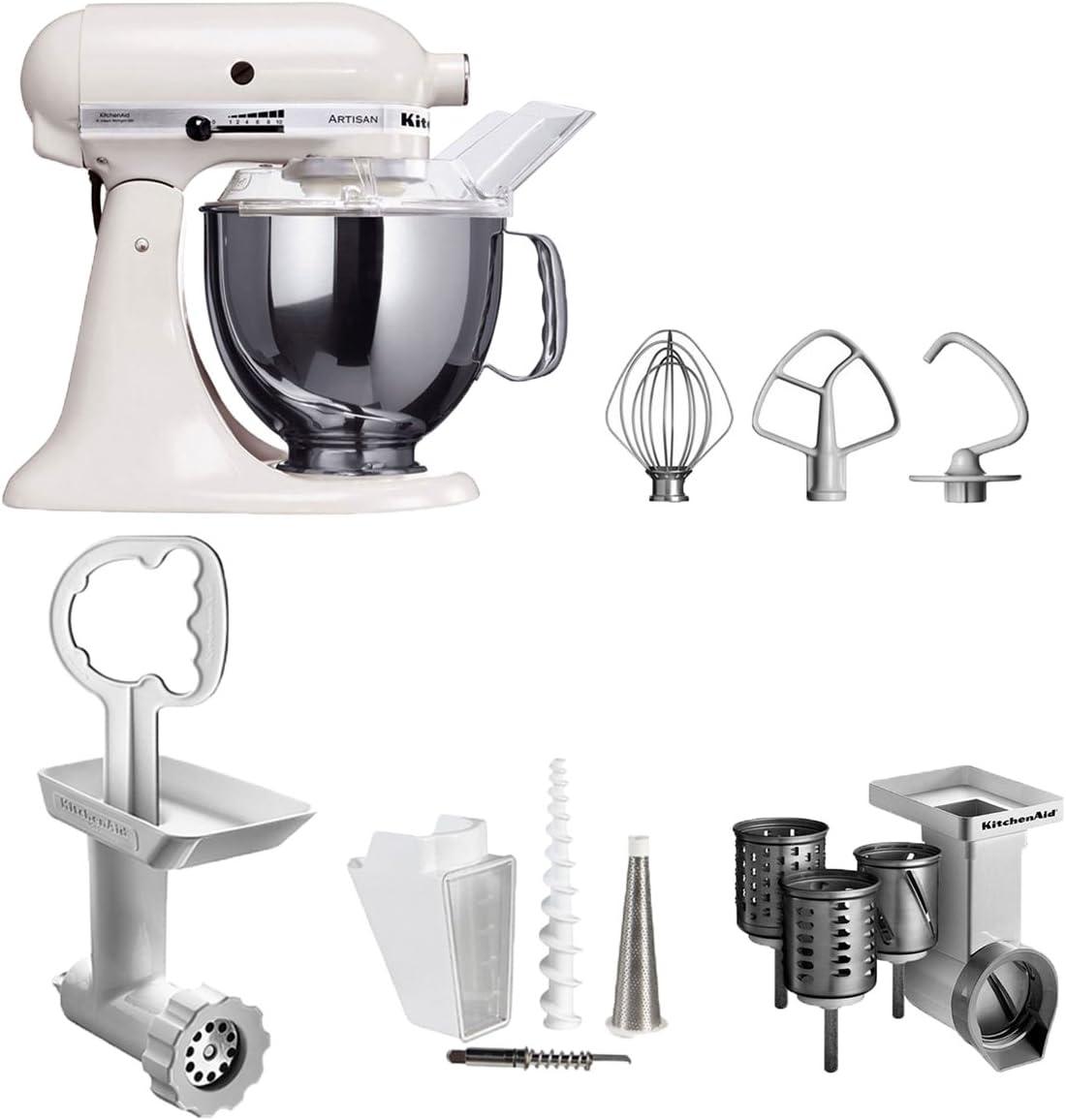 KitchenAid Artisan KSM150PSEWH y FPPC robot de cocina becocell, 3 teilig Set, White: Amazon.es: Hogar
