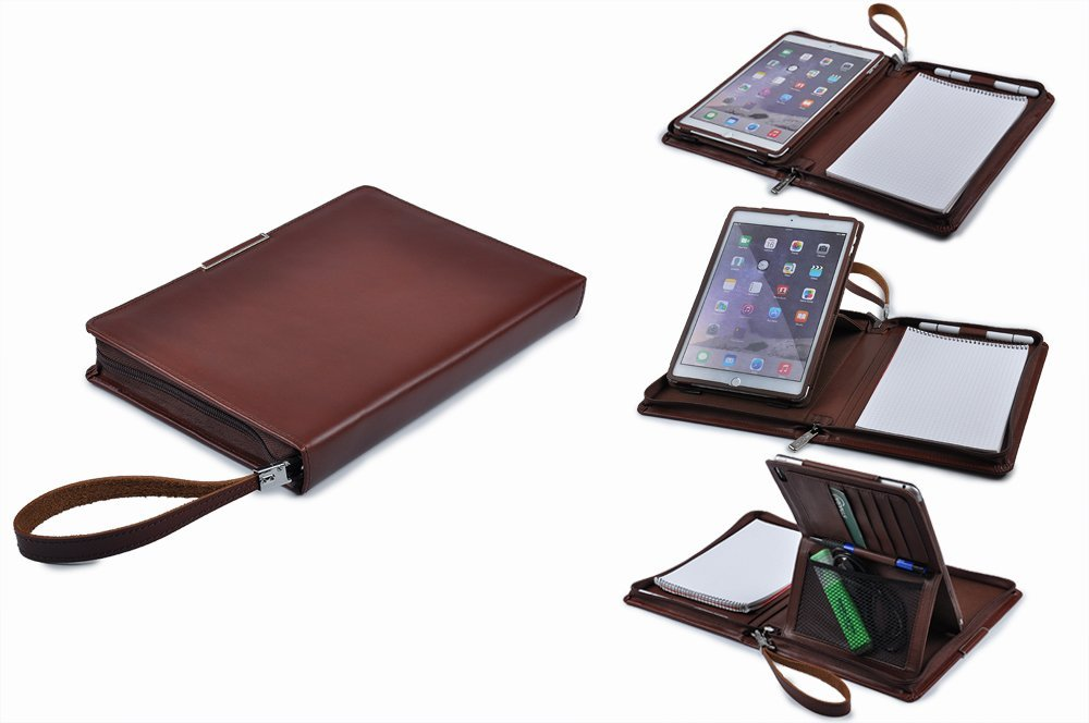 Executive Leather Portfolio with Kickstand Holder for iPad Air / Air 2 ,Brown