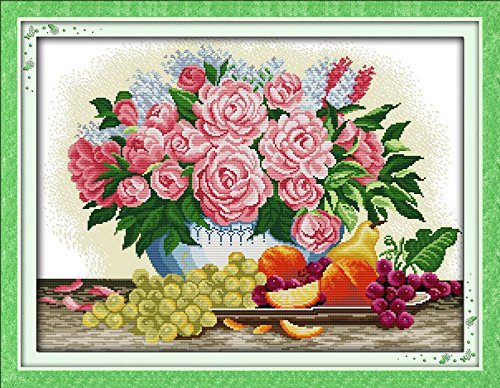 """Good Value Cross Stitch Kits Beginners Kids Advanced -Peony & Fruits 11 CT 28""""X 21"""", DIY Handmade Needlework Set Cross-Stitching Accurate Stamped Patterns Embroidery Home Decoration Frameless"""