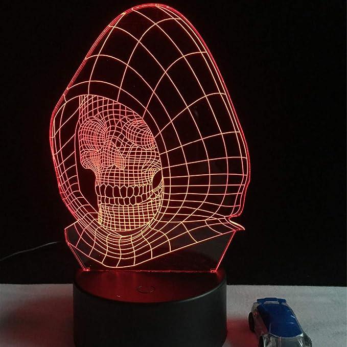 Yangll Figuire Llevó La Luz De La Noche Lampara Lava 3D Wizard Skull Vision Lámpara De Escritorio Niño Niño Cumpleaños Vacaciones Fiesta De Halloween Regalos: Amazon.es: Iluminación