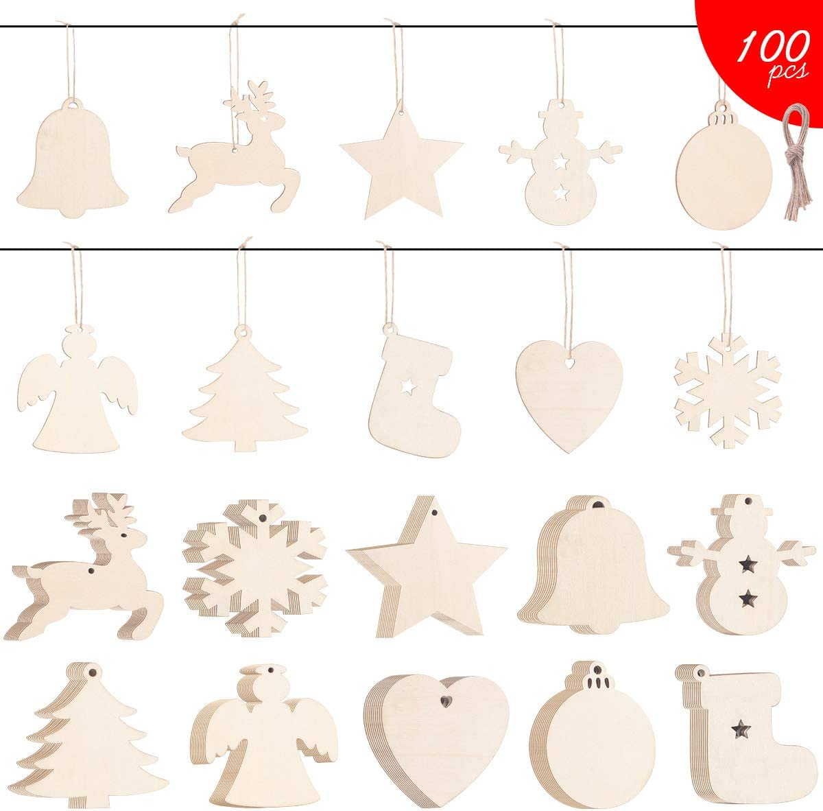 Sanglory DIY Wooden Ornaments, 100 Pieces Unfinished Round Natural Wood Slices, Wooden Circles with Hole for Christmas Holiday Decoration Hanging and Kids Craft Centerpieces
