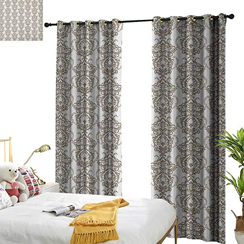WinfreyDecor Insulated Sunshade Curtain Taupe Baroque Victorian Floral Lily Damask Ornate Pattern Antique Vintage Old Fashioned Darkening and Thermal Insulating W96 x L84 Taupe ()
