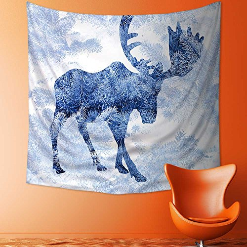 - AmaPark Polyester Tapestry Wall Hanging Double Exposure with The Silhouette of a Moose and Pine Needles of Spruce. Wall Decor for Bedroom Living Room Dorm39W x 39L Inch