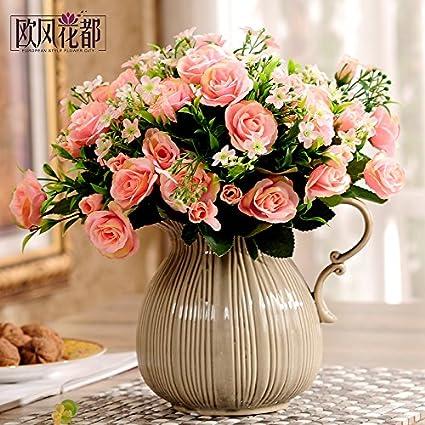 Xin Pang Emulación Continental Flor Rosas Salón Decoracion Y Adornos Decoradas Mesa De Comedor Flores Artificiales