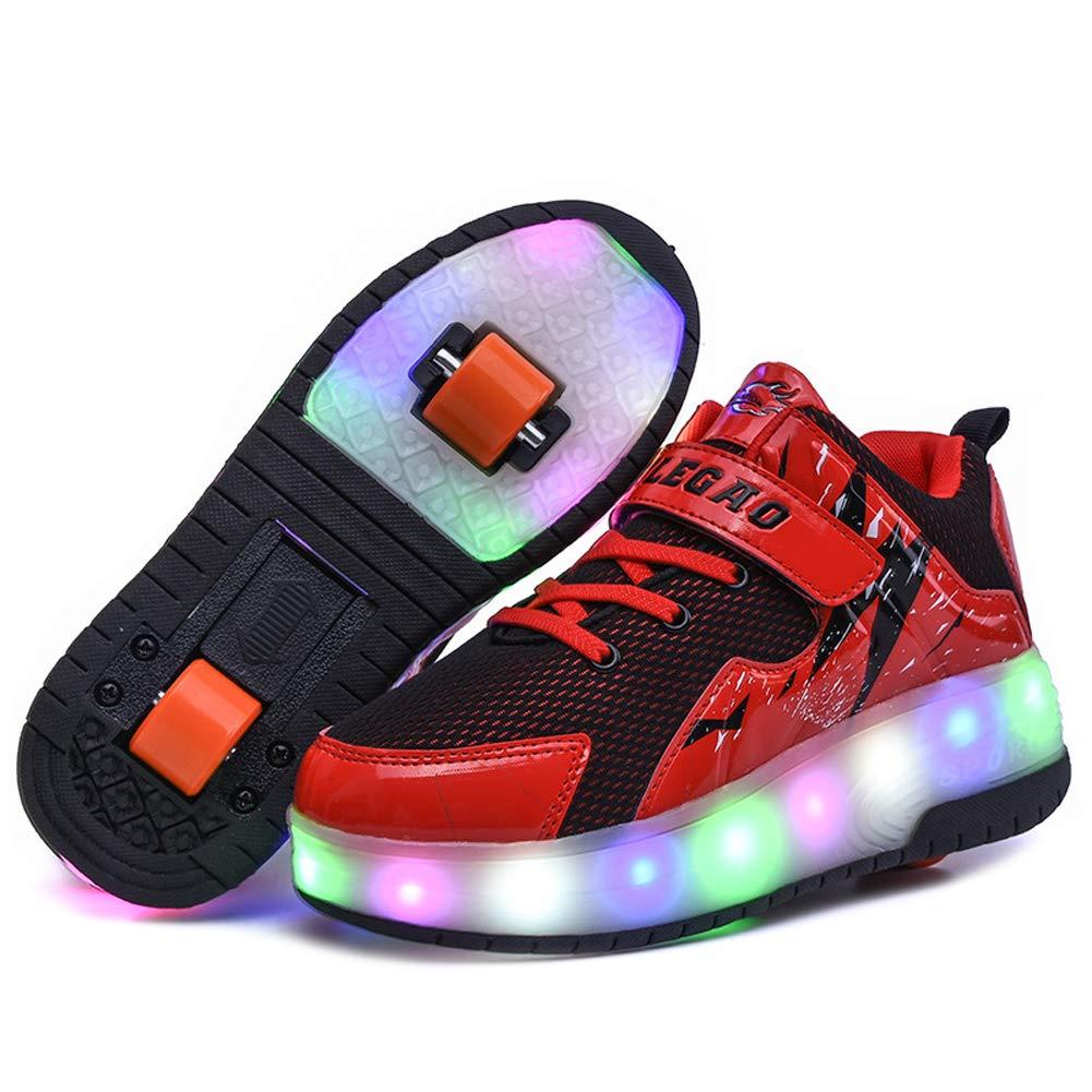 Rewasd Unisex Kids Led Roller Skate Shoes Double Wheels 7