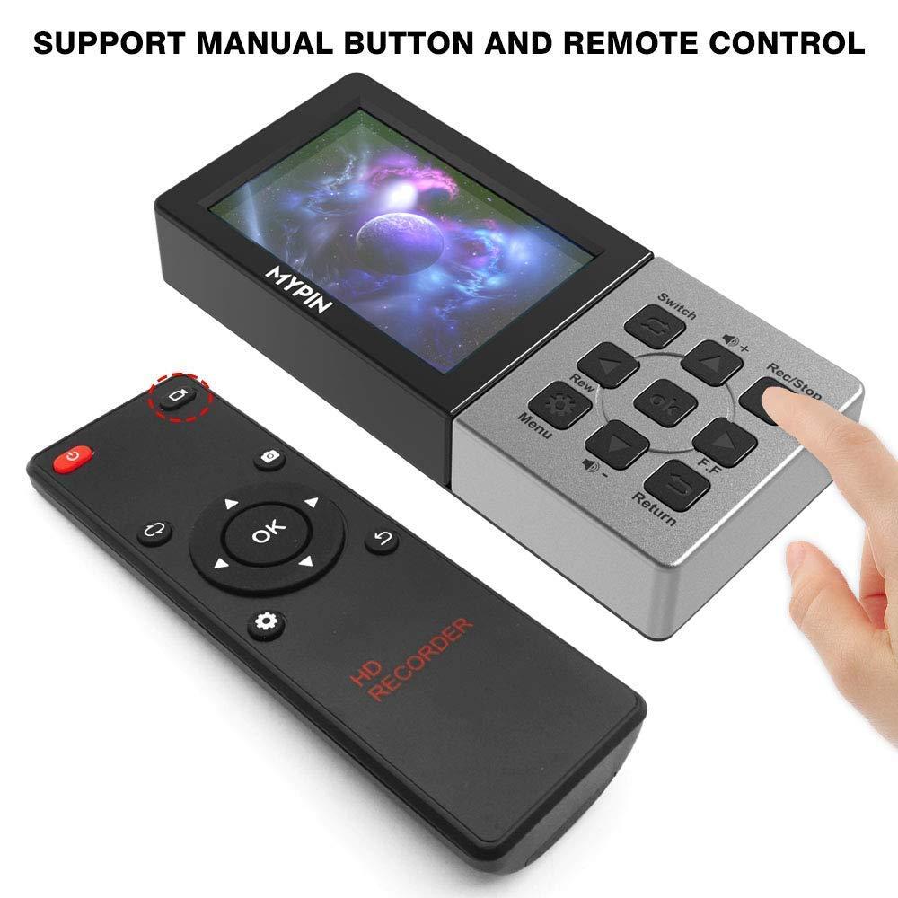 LiveTV DVR Xbox One Grabador HDMI 1080P 60FPS para PS4 reproducci/ón de Soporte//Captura programada//Entrada de micr/ófono MYPIN Dispositivo de Captura de Video LCD HD de 3.5con Control Remoto