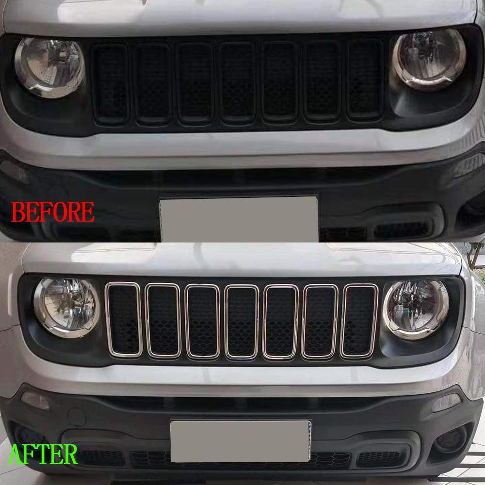 Chrome Silver Oubolun OBL Front Grill Grille for 2019 Jeep Renegade ABS Insert Mesh Trim Car Exterior Accessories Silver 7 Pack red