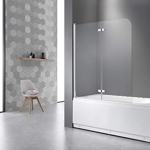 Mampara plegable para bañera de 120 x 140 cm, mampara de ducha para bañeras, cristal nano de 6 mm, pared de baño plegable que se puede abrir hacia el interior y el