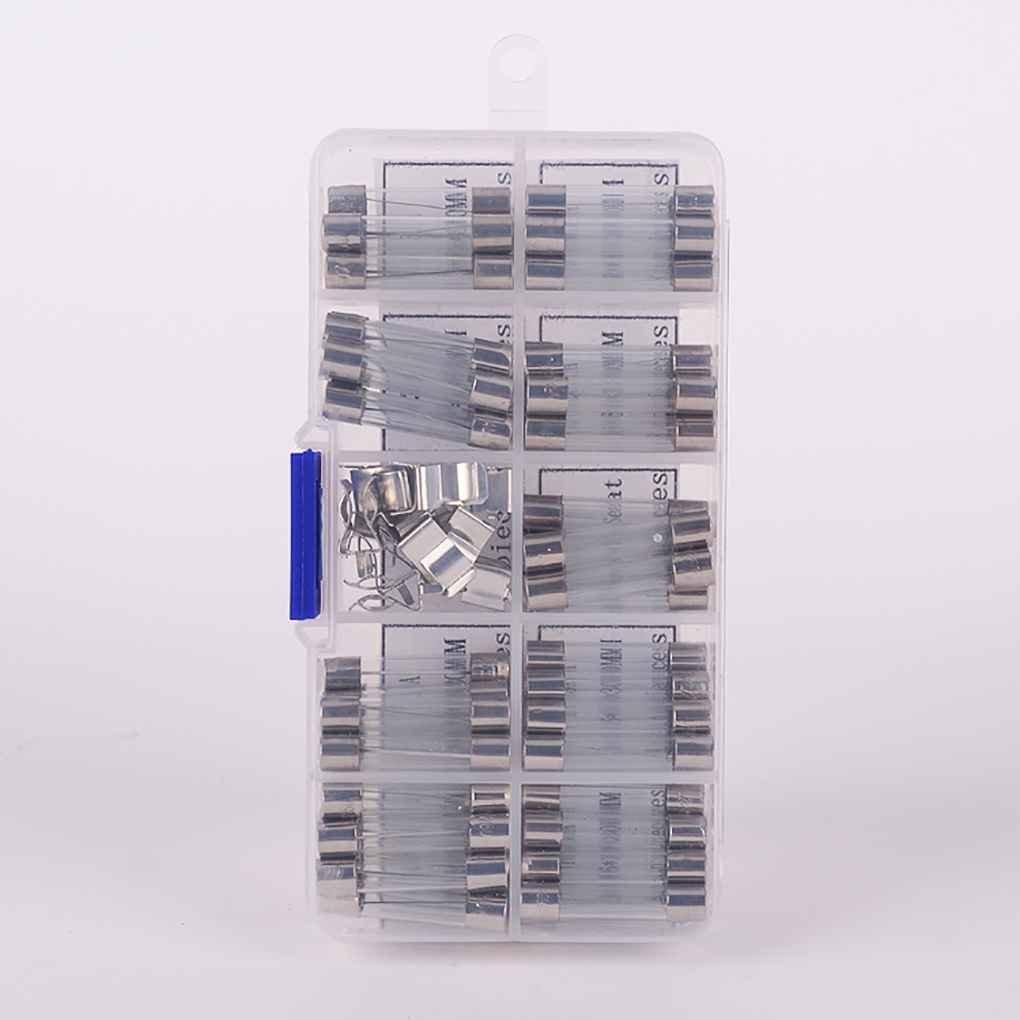 Set flinke Autoglassicherungen Rohrsicherungen Verschiedene Kit 0.5A 1A 2A 3A 5A 10A 15A 20A 30A mit Sicherung Sitz beIilan 72PCS