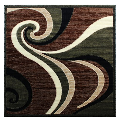 Americana Modern Square Area Rug Design 144 Green (5 Feet 3 Inch X 5 Feet 3 Inch) Square - Made in Turkey from 100% olefin with jute backing Durable, lays flat and easy to maintain and clean Will add beauty and style to your home living room bed room or office - living-room-soft-furnishings, living-room, area-rugs - 612ic uZ2VL -