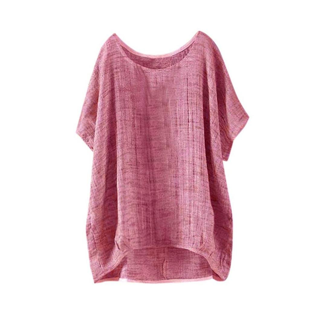 Summer Tops Shirts,Women Casual Loose T-Shirt Plus Size Long Sleeve Blouse Cotton Linen Tops Tee [On sale] (Red, L=US 16)