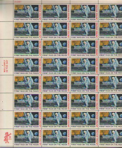 First Man on the Moon Stamp MNH Sheet 32 x 10 Cent Air Mail Scott C76 by  USPS