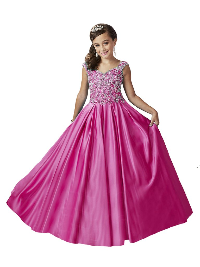Yang New Girl's Beaded Turquoise Satin Floor Length Pageant Dresses 14