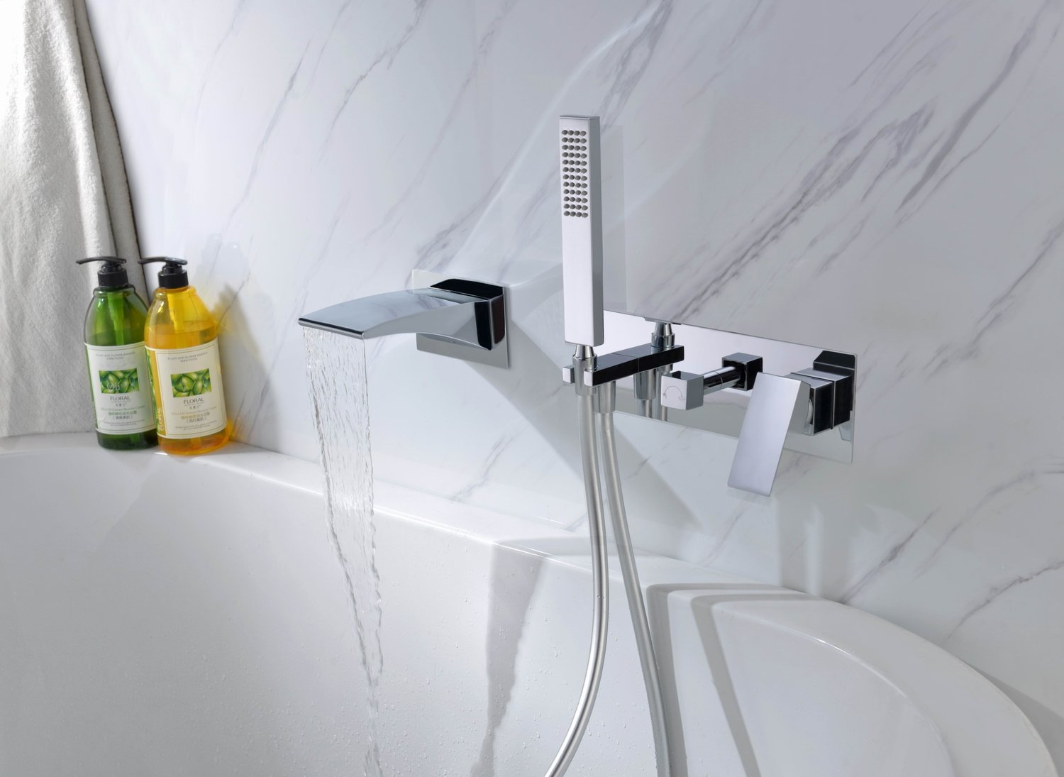 Sumerain Wall Mount Tub Faucets Waterfall Tub Filler Spout With