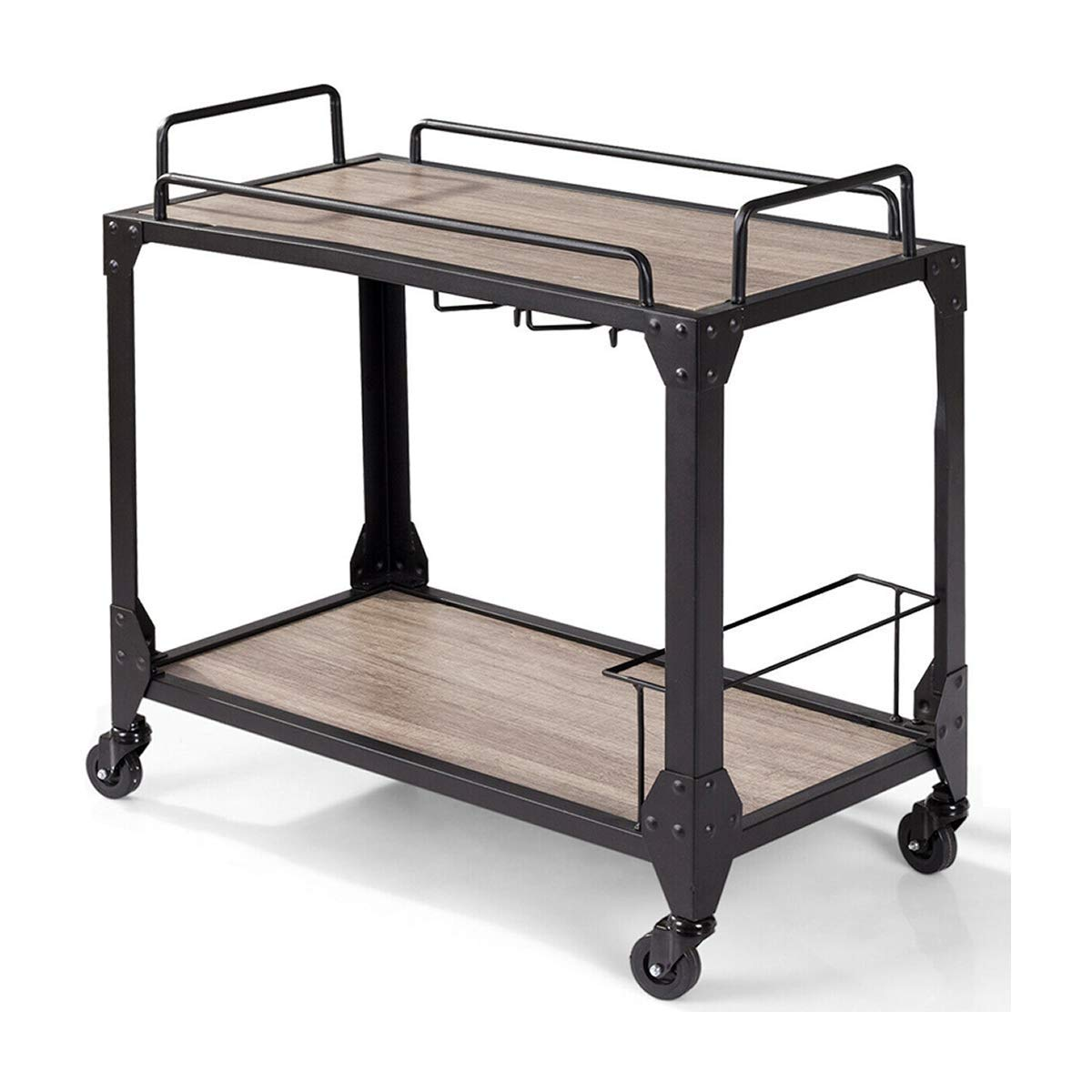 Cirocco 2 Tiers Wooden Rolling Bar Serving Cart Kitchen Island Shelves Storage Rack Wine Holder Glass Hanger | Heavy Wood Support 130Lbs Industrial Rustic Versatile | for Home Bar Restaurant Pub Cafe by Cirocco