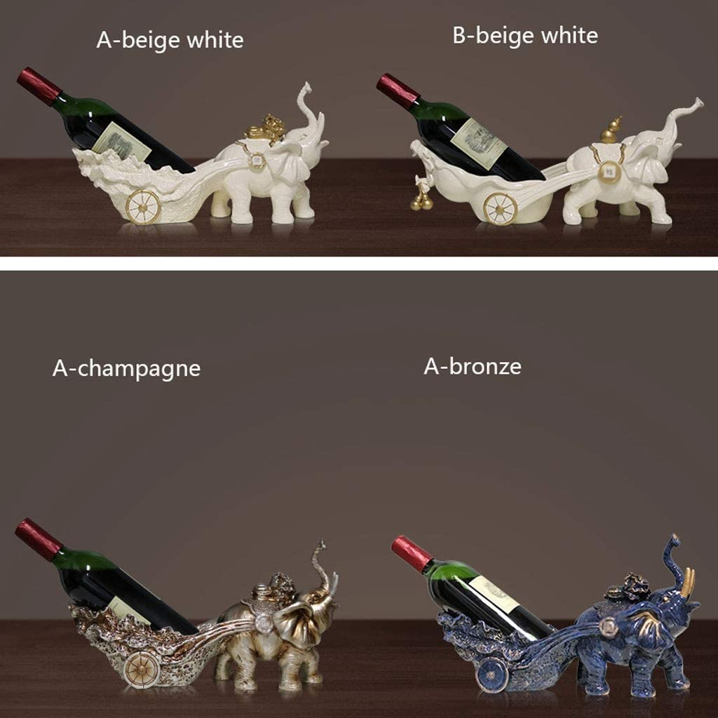 YBYB Wine Rack European Creative Elephant Wine Rack Resin Wine Stand Fashion Bottle Holder Gift Wine Cabinet Decoration Wine Holder (Color : B-beige white) A-bronze