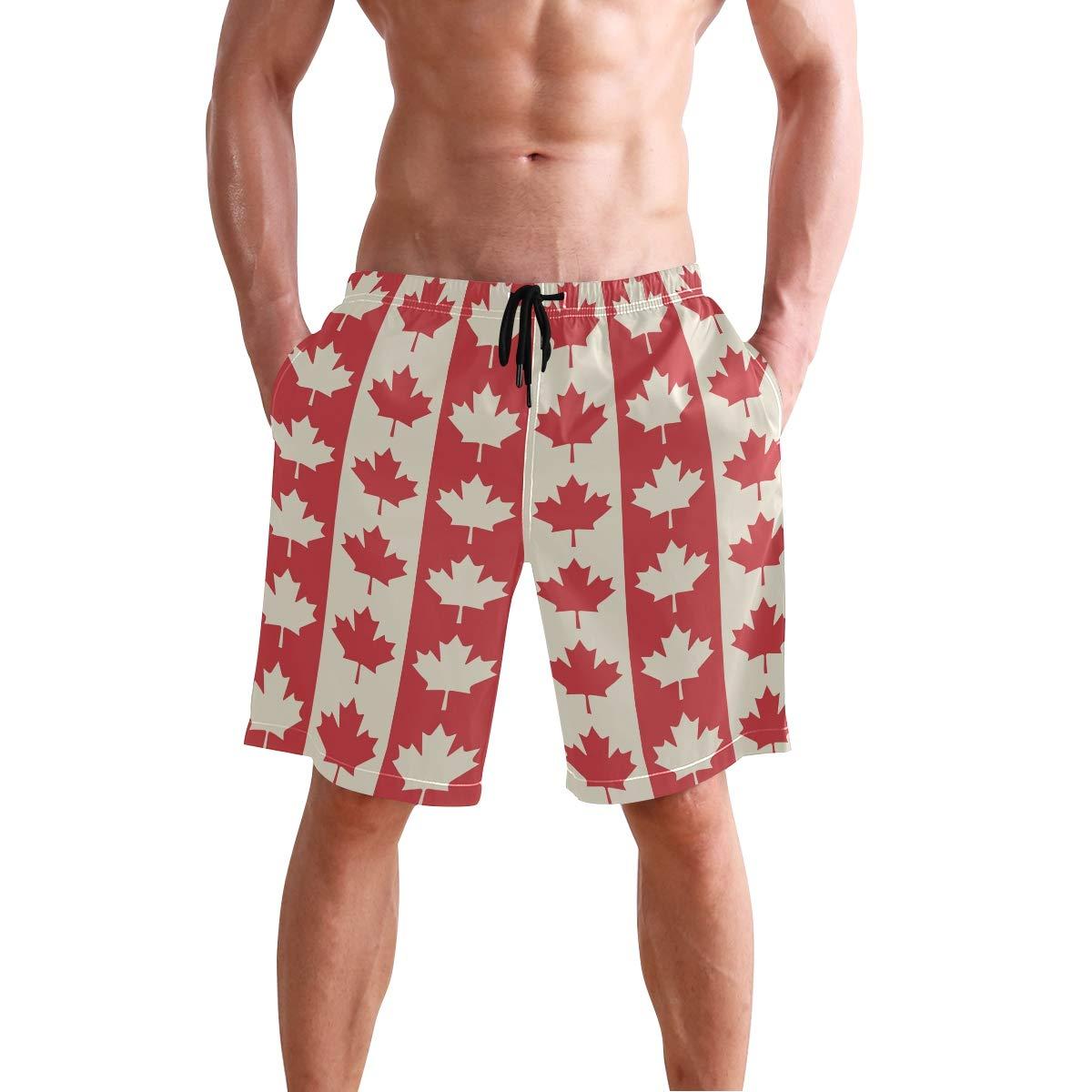 Canadian Flag Mens Trunks Beach Board Shorts Drawstring Waist Mesh Lining