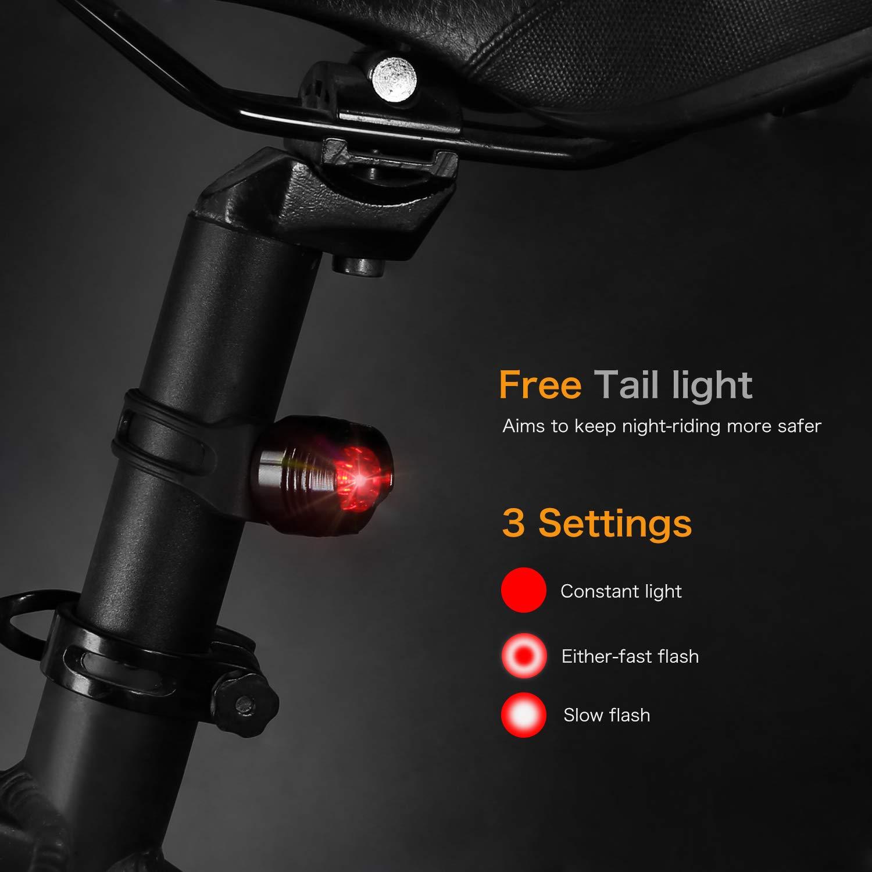 bedee Eclairage Vélo, Clip Pivot à 360 Degrés, Banque de Puissance 4000mAh 500 Lumens, Lampe de Travail à LED COB, Eclairage Avant Vélo Kit pour VTT VTC Cycliste Camping