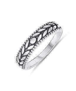 Oxidized Leaf Antique Design 925 Sterling Silver Ring Size 8