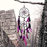 Dream Catcher, Handmade Purple Circular Net Wall Hanging Ornament Decorations for Kids Girls Home Bedroom Car -4.3″ Diameter, 21.65″ Long