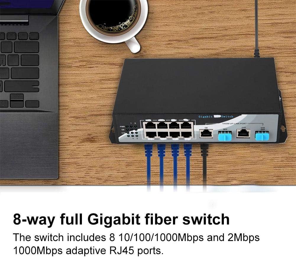 Tangxi 8 Port Gigabit Unmanaged Metal Desktop Switch Computer Networking Switches Ethernet Splitter Optical Converter 8 10//100//1000Mbps and 2Mbps 1000Mbps RJ45 Port Ethernet Switch