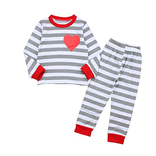 a280372b2a Image Unavailable. Image not available for. Color  HBER 1-6T Toddler Baby  Little Boys Girls Stripe Pajamas Sets Long Sleeve ...