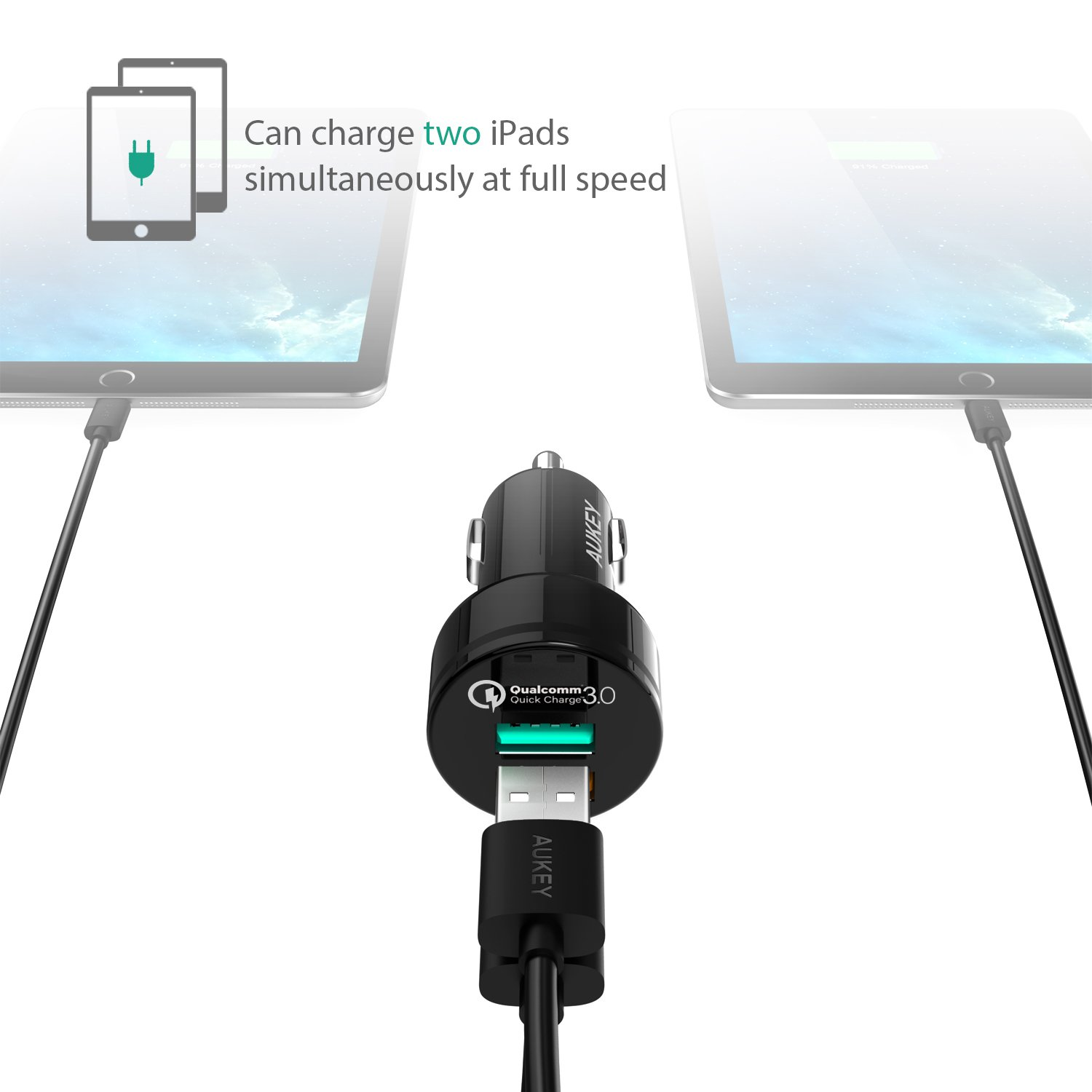 iPhone X // 8 // Plus and More AUKEY Car Charger with 31.5W Output Qualcomm Certified CC-T7 Quick Charge 3.0 /& 5V//2.4A Ports for Samsung Galaxy Note8 // S9
