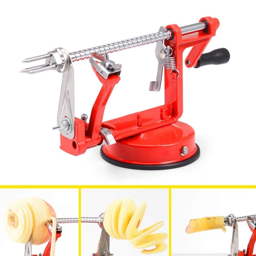 Apple Peeler Corer Slicer, Durable Heavy Duty Stainless Steel Fruits Cutter, With Countertop Suction Cup Red by LHFSM