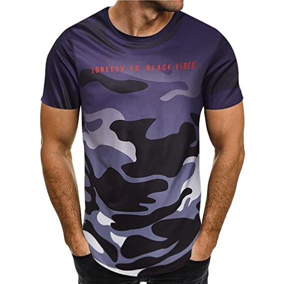 Camiseta para Hombre Camiseta de Camuflaje Militares Deporte Ropa Deportiva Camisa de Manga Corta de Camuflaje