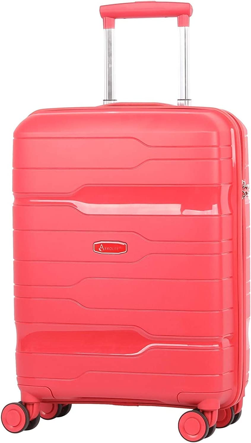 Aerolite Premium Hard Shell 8 Ruedas Carry On Hand Cabin Equipaje Maleta 55x40x20 cm con Cerradura TSA incorporada de 3 dígitos, Aprobada para Ryanair, easyJet, British Airways (Merlot)