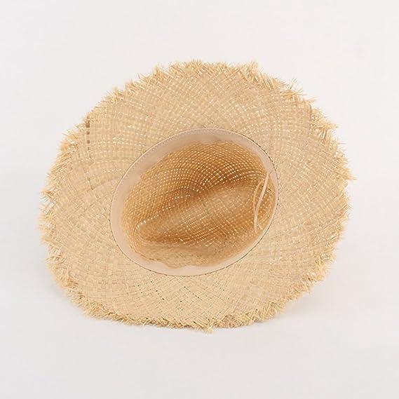 LINNUO Sombrero de Jazz Playa Paja Panama Estilo Británico Deporte al Aire  Libre Gorro del Sol Sombrero Para Mujer  Amazon.es  Ropa y accesorios 9da23469002