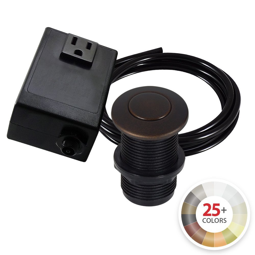 Single Outlet Garbage Disposal Turn On/Off Sink Top Air Switch Kit in Rustic Bronze. Compatible with any Garbage Disposal Unit and Available in 25+ Finishes by NORTHSTAR DÉCOR. Model # AS010-RB