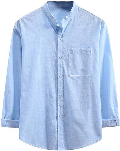 Camisas Henley de lino para hombre, holgadas, sin cuello ...