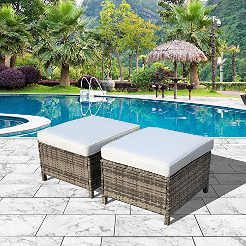 Orange-Casual Outdoor Grey Wicker Ottoman with White Cushions All Weather Patio Ottoman,2 Piece ()