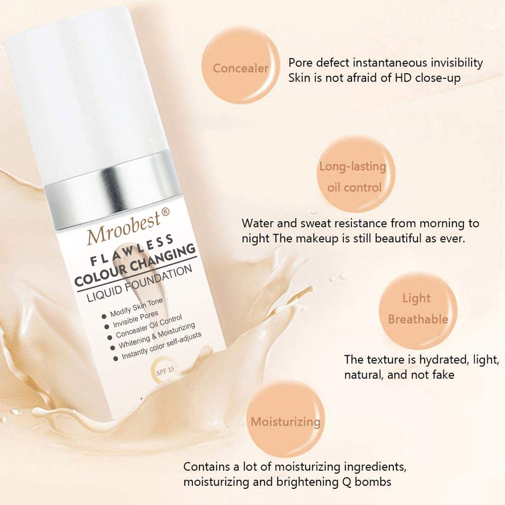 Flawless Finish Foundation,Colour Changing Liquid Foundation, Liquid Foundation Cream,Moisturizing Liquid Cover Concealer for All Skin Types, SPF 15,1 Fl Oz by CIDBEST (Image #3)