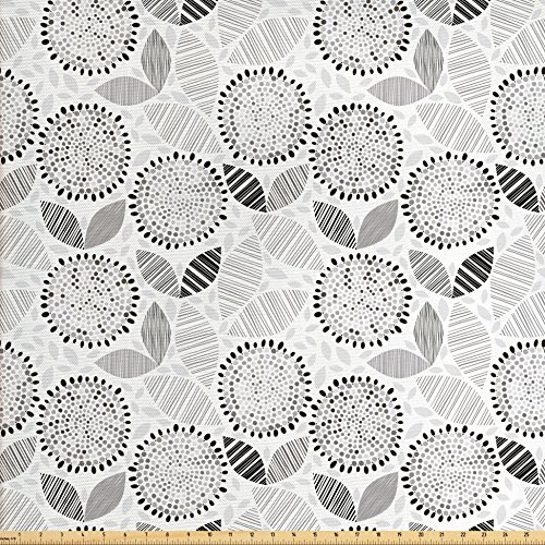 Outdoor Quilt Patterns (Lunarable Sketch Fabric by the Yard, Grayscale Pattern of Round Abstract Flowers with Striped Leaf Figures Nature, Decorative Fabric for Upholstery and Home Accents, Pale Grey White)