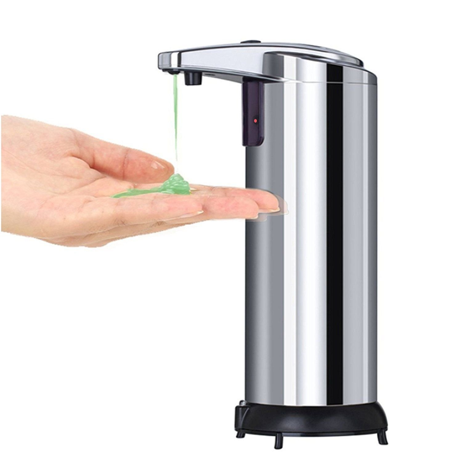 Hand Soap Dispenser,Sobotoo Automatic Touchless Stainless-Silver Soap Dispenser, Auto Motion Sensor Battery Operated Hand sanitizer Kid Dish Soap Dispenser For Kitchen Bathroom with Waterproof Base